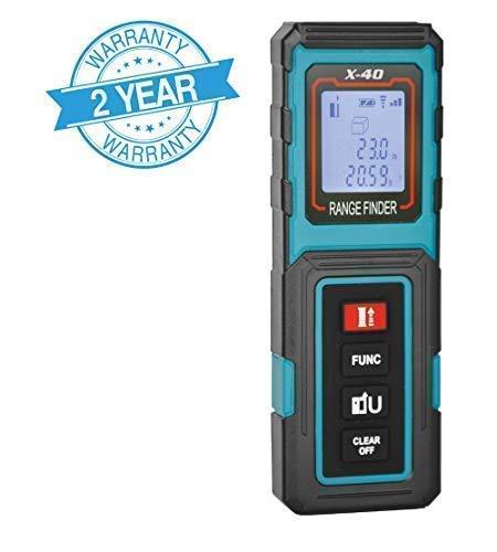 MAKINGTEC Laser Measure 131Ft Mini Laser Distance Measure, Pythagorean Mode and LCD Backlight Display, Volume and Area Measurement Digital Laser Tape Measure X40 Color Blue