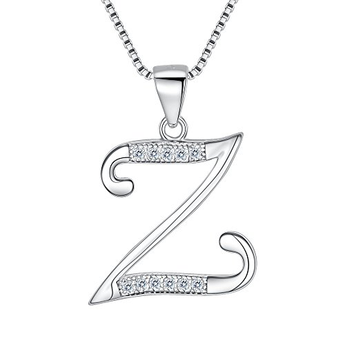 - EleQueen 925 Sterling Silver CZ Initial Alphabet Letter Z Bridal Pendant Necklace Clear