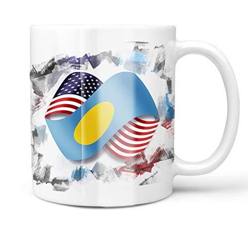 Neonblond 11oz Coffee Mug Infinity Flags USA and Palau with your Custom Name