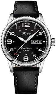 Hugo Boss Men's Pilot Black Leather Strap Watch 44mm 1513330
