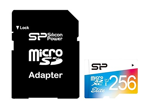 256GB Silicon Power Elite microSDXC CL10 UHS-1 85MB/sec Colorful Memory Card With Adapter by Silicon Power