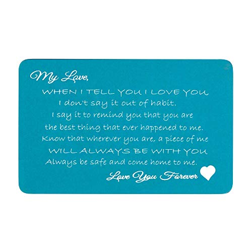 - Love You Forever Engraved Metal Men Wallet Mini Insert Card Note Heart to My Husband Wife Birthday Anniversary Valentines- Blue