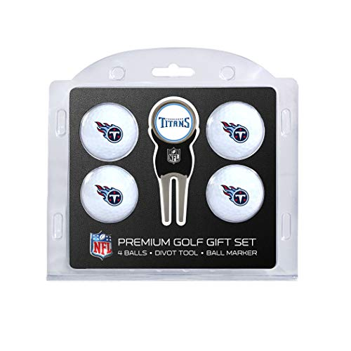 (Team Golf NFL Tennessee Titans Regulation Size Golf Balls (4 Count) & Divot Tool with Removable Double-Sided Magnetic Marker)