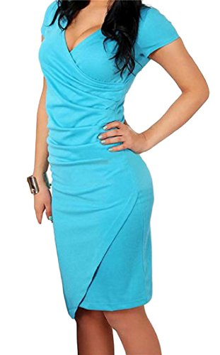 Dress Women's Lake One Sleeve Blue Neck Short Slim Club Wrap Cromoncent Bodycon Fit V Step 7qvdAOAw