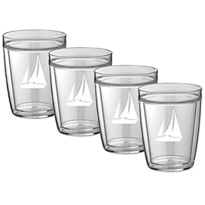 Kraftware Kasualware Collection Fleur de Lis Doublewall Drinkware (4 Pack), 14 Ounce, Clear