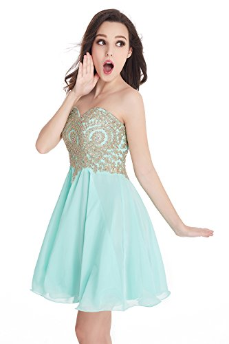 2016 Short Beading Open Back Satin Homecoming Dress Prom Gowns (Mint,2)