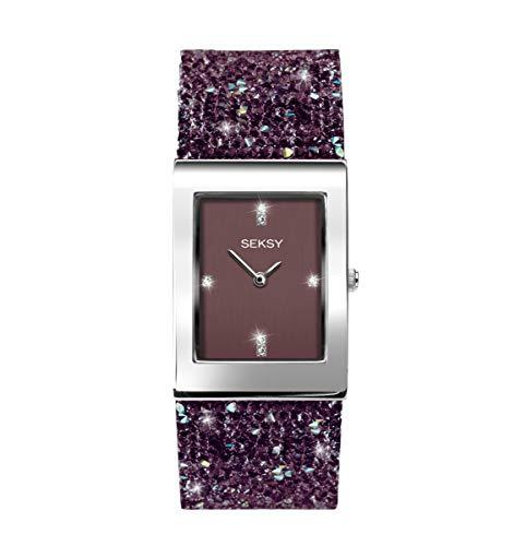 Sekonda Seksy Rocks Ladies Analogue Watch with Purple Crystal Set Leather Strap - Ladies Crystal Seksy