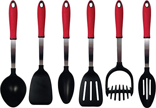 Tailor Made Products 6 Piece Stainless Steel Nylon Utensil Set, Red/Black