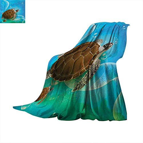 Anhuthree Ocean Warm Microfiber All Season Blanket Turtle Family Swimming in Ocean Bubbles Underwater World Cartoon Fun Artwork Velvet Plush Throw Blanket 90
