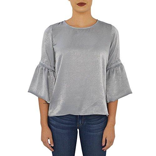 Waverly Grey Charlize Ruffle Top In Silver (Medium, Silver)