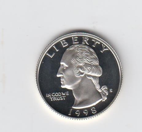 1998 S S Proof Washington 90% Silver Quarter Quarter Choice Proof US Mint