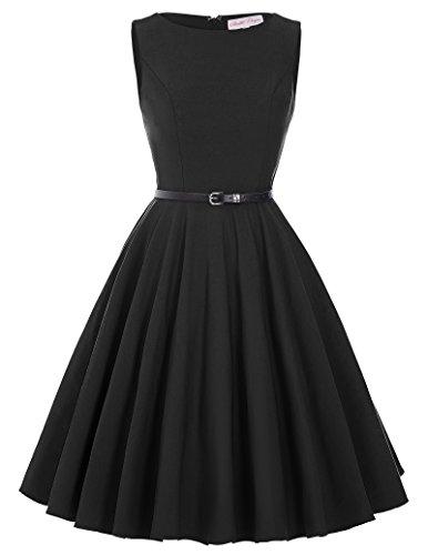 Audrey Hepburn Vintage Style Dresses for Women Black Size S - Black Style Short