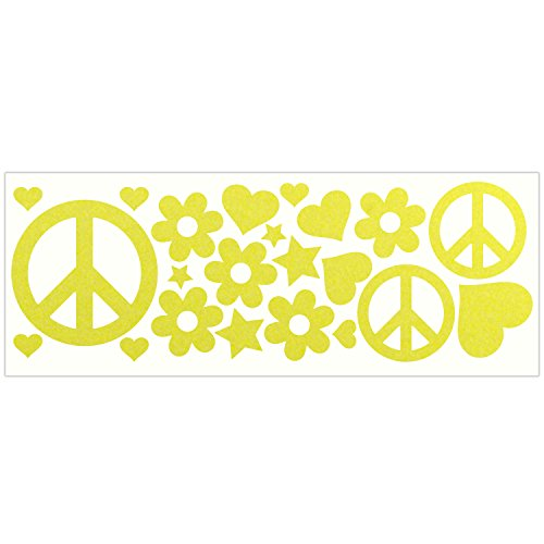 LiteMark Reflective Lemon Yellow Hippy Sticker Decals for Helmets, Bicycles, Strollers, Wheelchairs and More