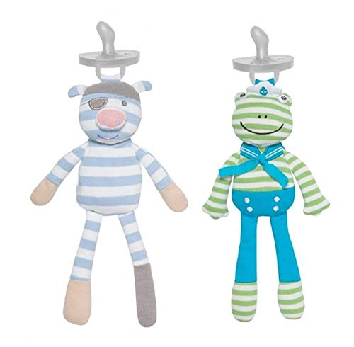 Organic Farm Buddies Pacifier Buddies Pirate Pig and Skippy Frog (Baby Pirate Pacifier)