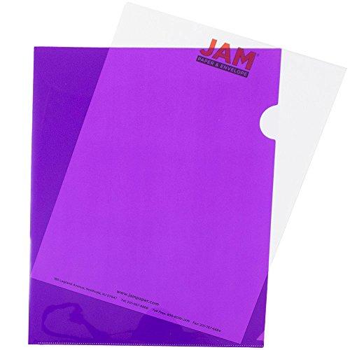 JAM Paper Plastic Sleeves - (9 x 11 1/2) - Purple - 12 per pack