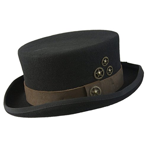 Conner Hats Australian Black Wool Top Hat with Brass Clock Wheels C1071-BLK from Conner Hats