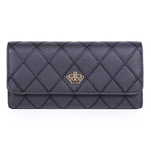 Damara acolchado estilo Classic Trifold cartera corona Adorn embrague bolsa negro