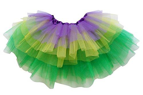 So Sydney Adult Plus Kids Size 6 Layer Fairy Tutu Skirt Halloween Costume Dress (M (Kid Size), Mardi Gras)