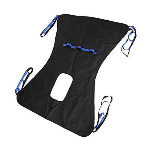 Patient Lift Toileting Sling Chair Bariatric Commode Transfer Belt Medical Lift Equipment - Full Body Lifter Four Point Sling, 450lb, Large (Black)