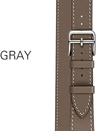 TGBZ 交換用ベルト付き超薄型ストラップ高品質男性/女性適した時計バンド本革バンドストラップ (Band Color : 15gray, Band Width : 42mm)
