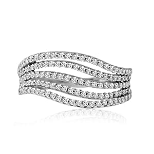10KT White Gold 1/2CTTW Multi-row Wave Ring