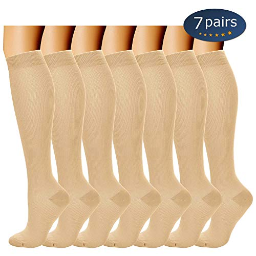 Ritta Compression Socks (2/3/4/7 Pairs),15-20 mmHg Best Athletic and Medical for Men and Women,Socks for Running, Flight, Travel, Athletic, Edema,Pregnancy,Relieve Pain (7 Pairs Beige, SM)