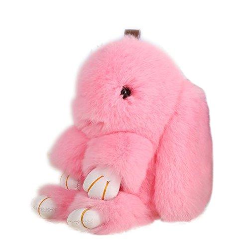 Bunny Keychain Magicub Rabbit Fur Bag Keychain Key Ring Pendant for Handbag Tote Bag - Bunny Charm Pink
