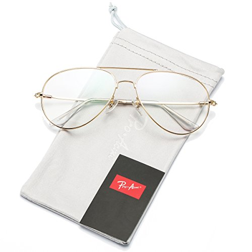 Pro Acme Fashion Aviator Glasses for Women Clear Lens Eyeglasses - Gold Aviator Eyeglasses