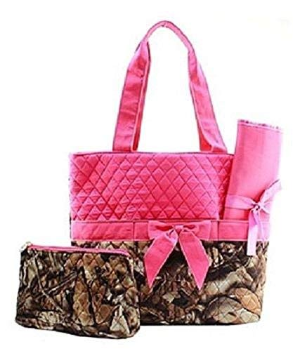 BNB Boys Girls 3 Piece Camo Western Diaper Bag Changing Cloth Set (PINK)