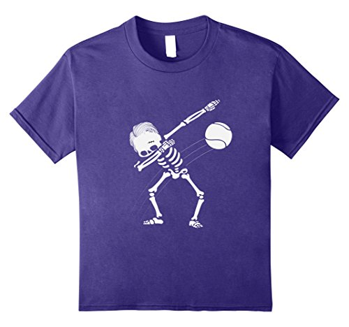 Halloween Tennis Costume Ideas (Kids Dabbing Skeleton Tennis Ball T-Shirt - Funny Halloween Tee 8 Purple)