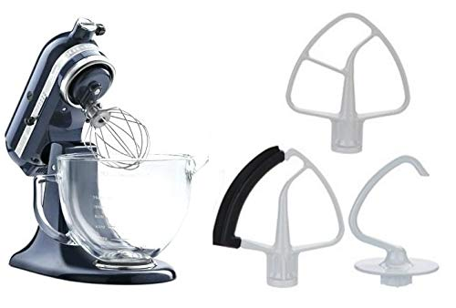 KitchenAid KSM105GBCMC 5-Qt. Tilt-Head Stand Mixer with Glass Bowl and Flex Edge Beater - Metallic...