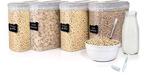 Set of 4 Cereal & Dry Food Storage Container (16.9 Cup/135.2oz) + FREE Chalkboard Labels and Marker - Airtight Lid - Suitable For Cereal, Flour, Sugar, Coffee, Rice, Snacks,