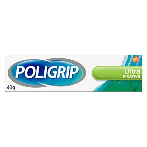 Poligrip Denture Adhesive Cream, False Teeth and Partials Fixative, Ultra, 40 g