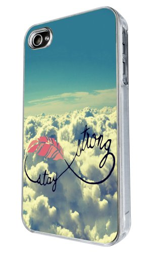 iphone 4 4S Cool Sky Clouds Be Strong infinity Sign Funky Fashion Trend Hülle Case Back Cover Metall und Kunststoff