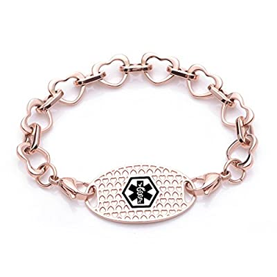 Fashion Heart links Interchangeable Medical id bracelet for Women & Girl-Free engraving