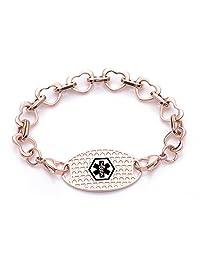 Fashion Heart links Medical id bracelet for Women & Girl-Free engraving