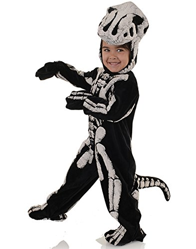 Underwraps Big Boy's Children's Fossil Dinosaur Costume - T-REX, Med Childrens Costume, Black/White, Medium