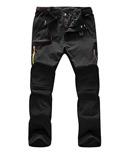 Men's Windproof Quick Drying Outdoor Convertible Pants,Black,US XL
