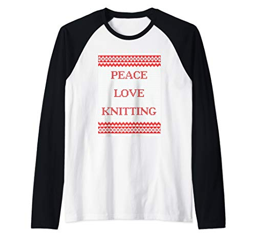 Peace Love Knitting Raglan Baseball Tee ()