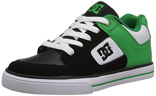 DC Shoes Pure Kids Shoe D0301069B-1 - Zapatillas de Cuero Nobuck Para Niño Black/Green/White
