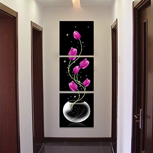 Studyset 3pcs/Set Canvas Porch Corridor Frameless Vertical Unframed Vase with Flowers Home Decoration Wall ()
