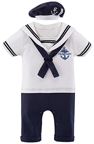 Mombebe Baby Boys' 2 Pieces Sailor Romper Outfit (6-12 Months, -