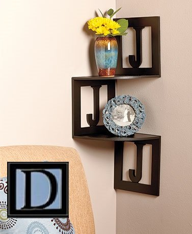 Monogram Corner Wall Shelves - Letter D by LTD