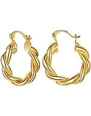 FAMARINE Twisted Gold Hoop Earrings for Women Chunky Earrings Minimalist Open Hoops Earrings For Wife