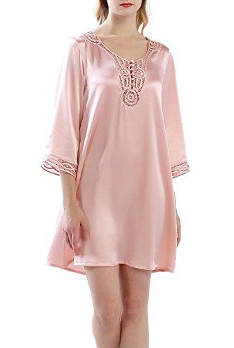 Sleeve Silk Charmeuse Dress - OSCAR ROSSA Women's Luxury Silk Sleepwear Hand Made ¾ Sleeves 100% Silk Nightgown Sleep Dress