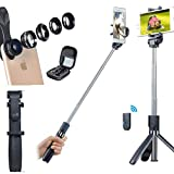 Phone Camera Lens kit - Selfie Stick Tripod with Remote Control 5 in 1 for iPhone, Fisheye, 2X Telescope, Wide Angle, CPL Lens Picture Lover Kit
