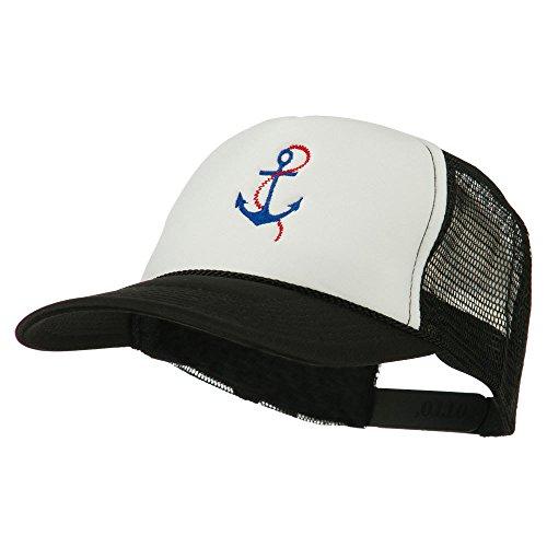 White Chain Cap Anchor (E4hats Anchor with Chain Embroidered Foam Mesh Back Cap - Black White OSFM)