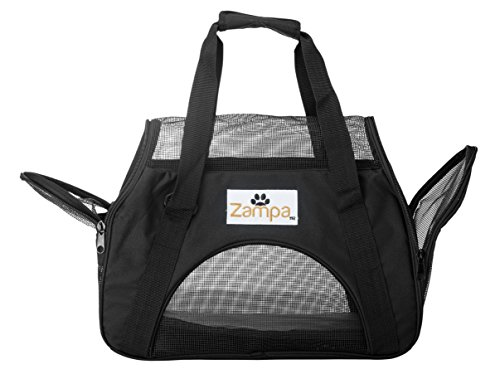 Zampa Airline Approved Soft Sided Pet Carrier, Low Profile Travel Tote, Removable pad, Premium Zippers & Under Seat…