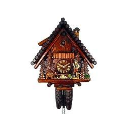 August Schwer Cuckoo Clock Black Forest House, Hunter, Bear