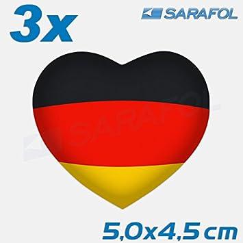 3x Deutschland Herz Aufkleber Nr048 Germany Heart Car